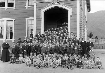 Stoke Orphanage, boys and staff, c.1892