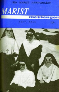 Marist Sisters in the snow on Ruapehu, Srs Aloysius and Basil (back), Mothers Geraldine and Evangelist (front), July 1966