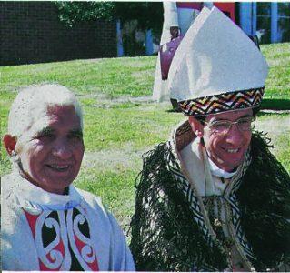Pā Wiremu Te Awhitu SM, the first Māori Catholic priest, with Bishop Max Takuira Mariu SM, the first Māori Catholic bishop