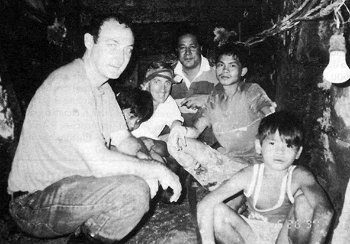 Marist Fathers John Larsen, Patrick Devlin and Aliki Langi, with workers in a gold mine in the Philippines. Fr John is now Superior General of the Society of Mary, Fr Pat is the SM General Secretary, and Fr Aliki ministers at Holy Name of Mary Parish, Hunters Hill, in Sydney